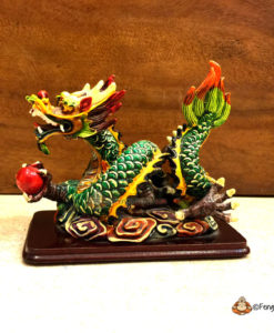 "It is a highly sought-after symbol and would make a great addition to any Feng Shui collection. Feng Shui Celestial Dragon, which is the most potent symbol of Yang, is one of the four celestial animals in Feng Shui. It is regarded as the ""Supreme Being"" in comparison to all other worldly animals, because it can survive in any environment; the sea, the mountains and even the heavens. It is a mystical creature that has held emblem since ancient times, when it was believed to transfuse courage and heroism to the beholder."