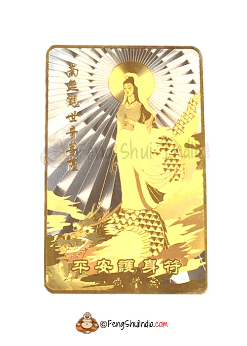 Mother kuan yin on dragon talisman card feng shui india thecheapjerseys Gallery