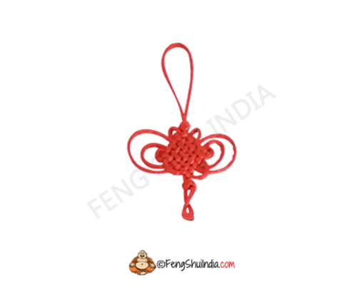 Red Mystic Knot With Coin Hanging